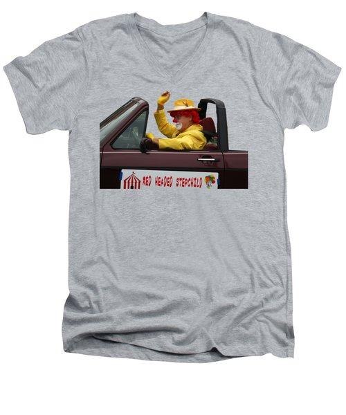Christmas Parade Clown In Car Men's V-Neck T-Shirt