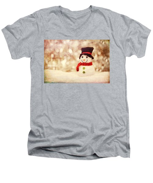 Men's V-Neck T-Shirt featuring the photograph Christmas Snowman by Bellesouth Studio