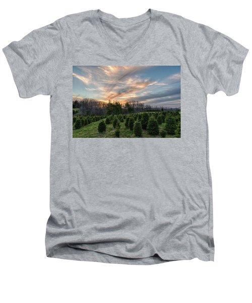 Christmas Tree Farm Sunset Men's V-Neck T-Shirt