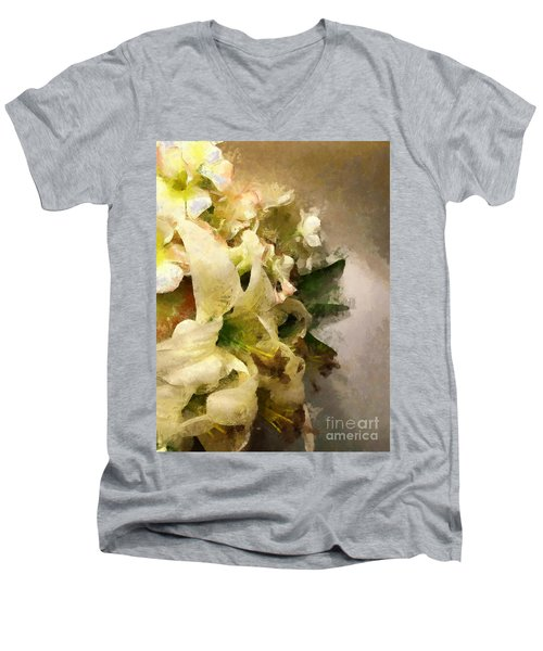 Christmas White Flowers Men's V-Neck T-Shirt