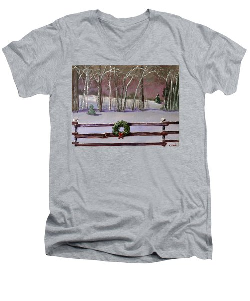 Christmas Wreath On Fence  Men's V-Neck T-Shirt