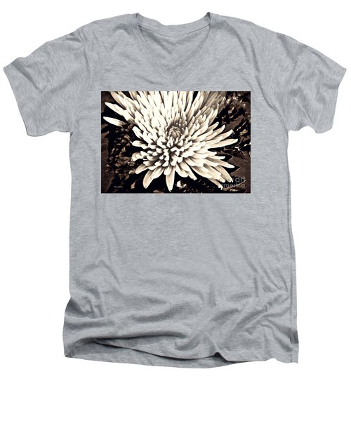 Men's V-Neck T-Shirt featuring the photograph Chrysanthemum In Sepia 2  by Sarah Loft