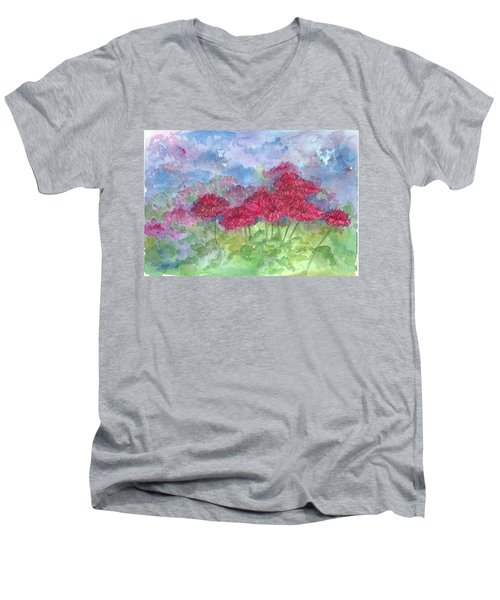 Men's V-Neck T-Shirt featuring the painting Chrysanthemums by Cathie Richardson