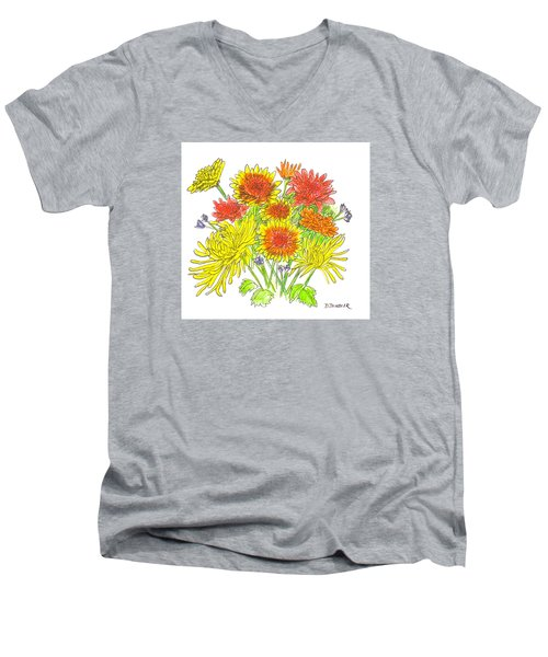 Chrysanthemums Men's V-Neck T-Shirt by Deborah Dendler