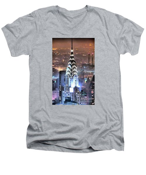 Chrysler Building At Night Men's V-Neck T-Shirt by Mick Flynn