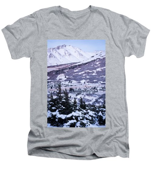 Chugach In Alpenglow Men's V-Neck T-Shirt