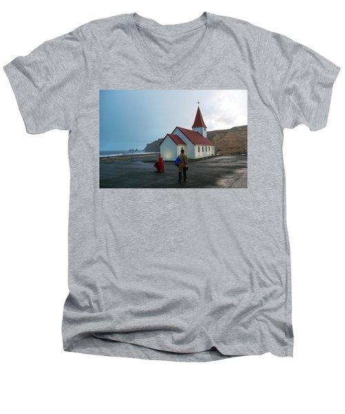 Men's V-Neck T-Shirt featuring the photograph Church Above Reynisfjara Black Sand Beach, Iceland by Dubi Roman