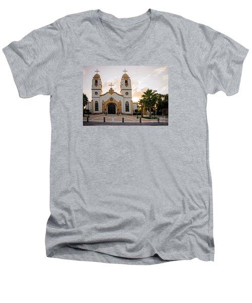 Church At Sunset Men's V-Neck T-Shirt
