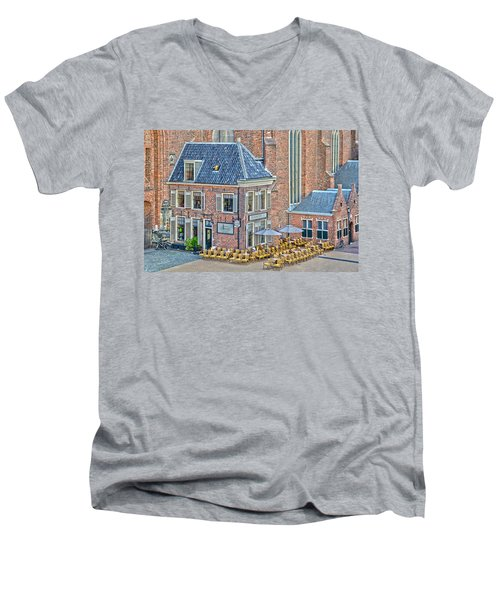 Men's V-Neck T-Shirt featuring the photograph Church Cafe In Groningen by Frans Blok