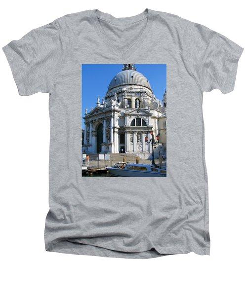 Church In Venice Men's V-Neck T-Shirt by Lisa Boyd