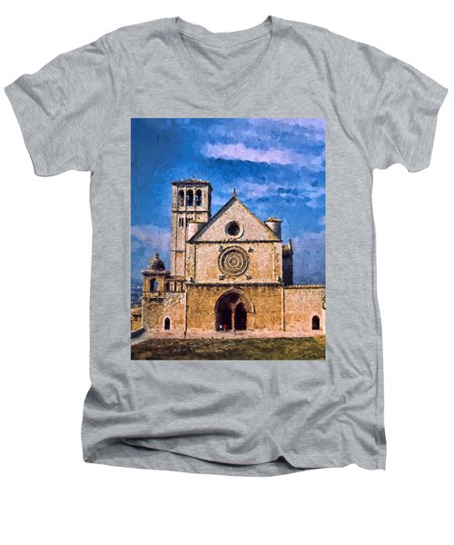 Men's V-Neck T-Shirt featuring the photograph Church Of Assisi by Trey Foerster