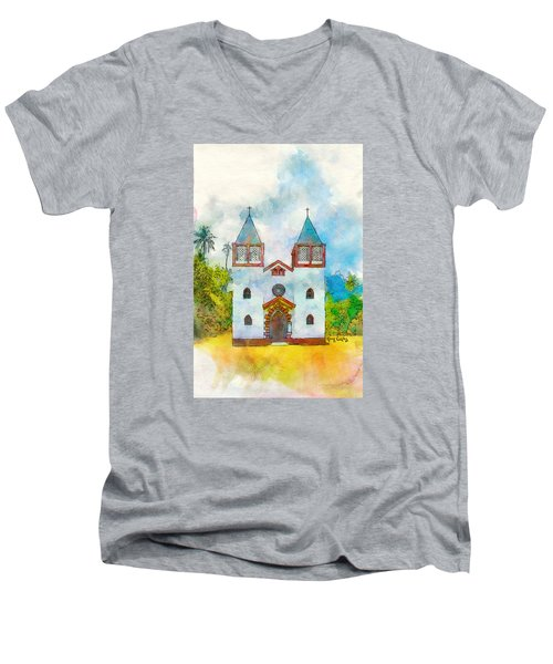 Church Of The Holy Family Men's V-Neck T-Shirt by Greg Collins