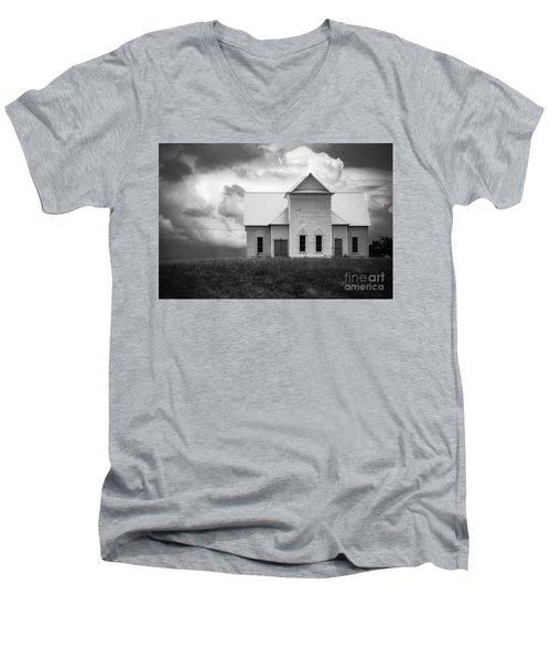 Church On Hill In Bw Men's V-Neck T-Shirt