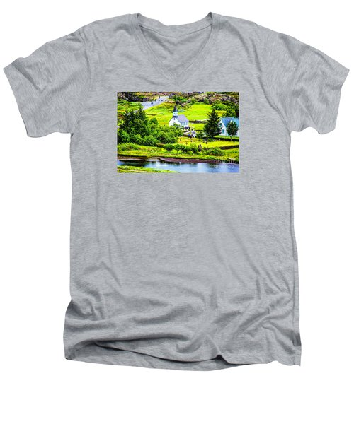 Men's V-Neck T-Shirt featuring the photograph Church On The Green by Rick Bragan