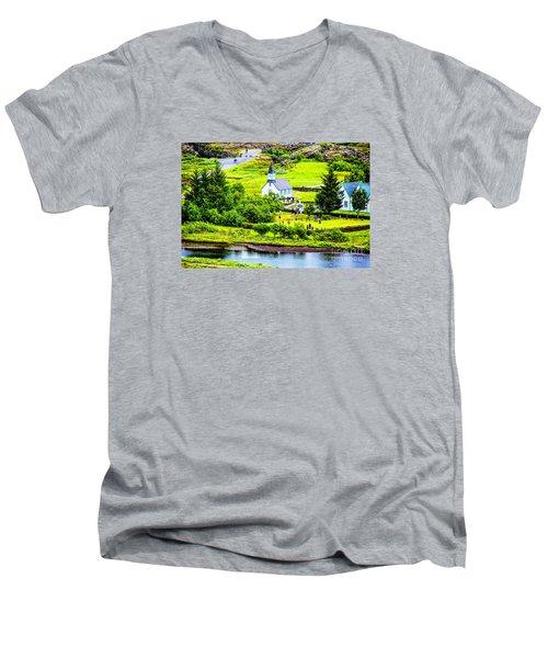 Church On The Green Men's V-Neck T-Shirt by Rick Bragan