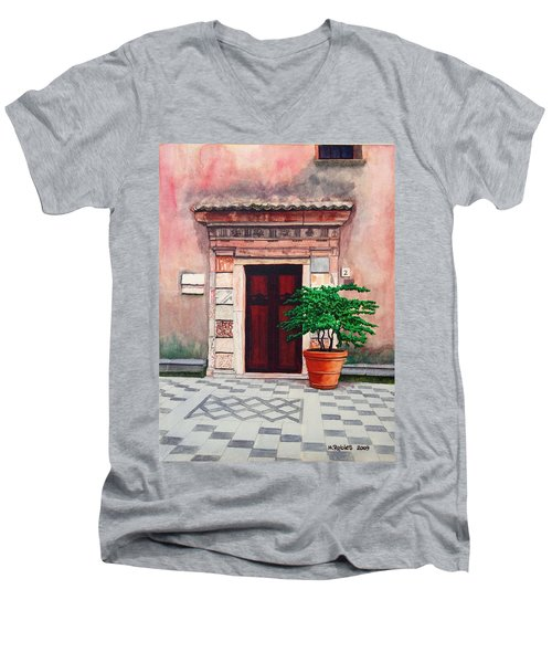 Church Side Door - Taormina Sicily Men's V-Neck T-Shirt by Mike Robles