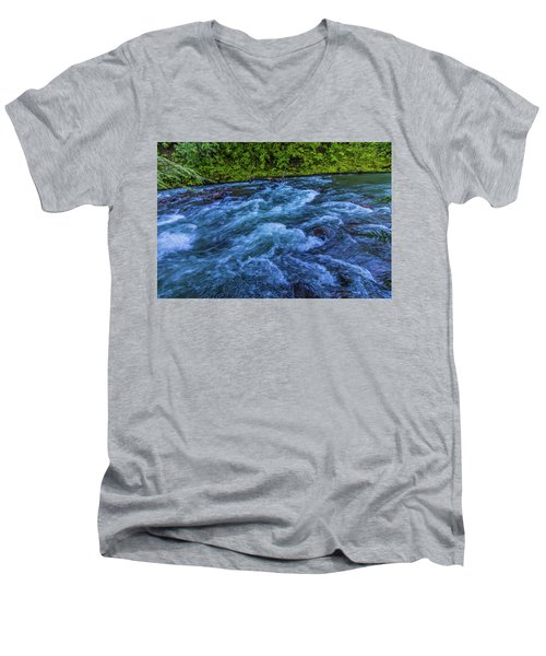 Men's V-Neck T-Shirt featuring the photograph Churning Water by Jonny D