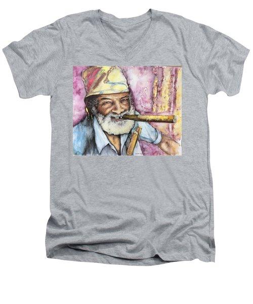 Cigars And Cuba Men's V-Neck T-Shirt by Victor Minca