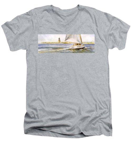 Cimba At Bird Island Light Men's V-Neck T-Shirt by P Anthony Visco