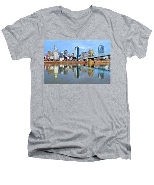 Cincinnati Ohio Times Two Men's V-Neck T-Shirt