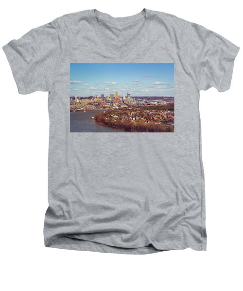 Cincinnati Skyline 2 Men's V-Neck T-Shirt by Scott Meyer