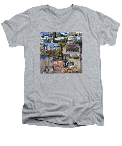 Men's V-Neck T-Shirt featuring the photograph Cincinnati's Favorite Landmarks by Robert Glover