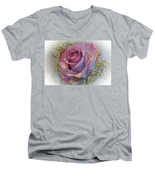 Cindy's Rose Men's V-Neck T-Shirt by Judy Johnson