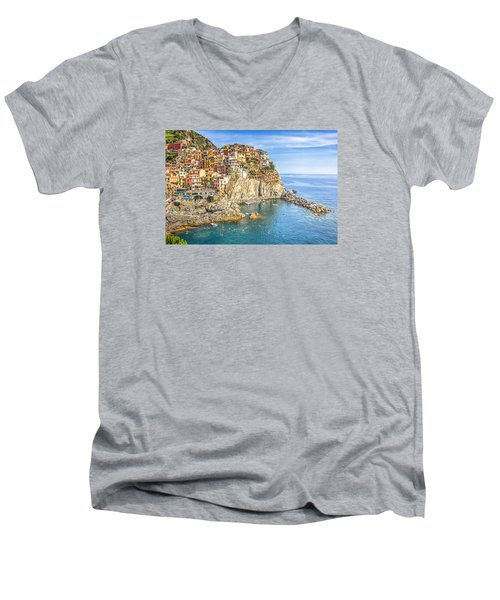 Cinque Terre Men's V-Neck T-Shirt by Brent Durken