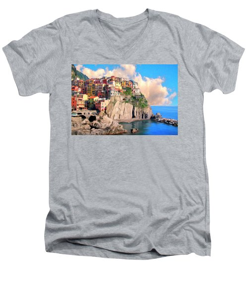 Cinque Terre Men's V-Neck T-Shirt by Dominic Piperata