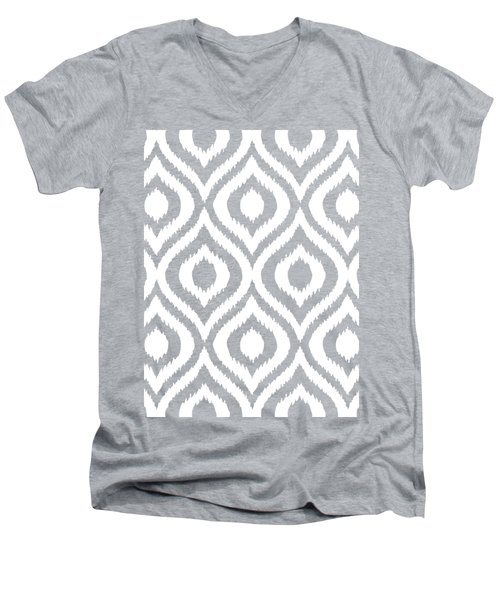 Circle And Oval Ikat In White N03-p0100 Men's V-Neck T-Shirt