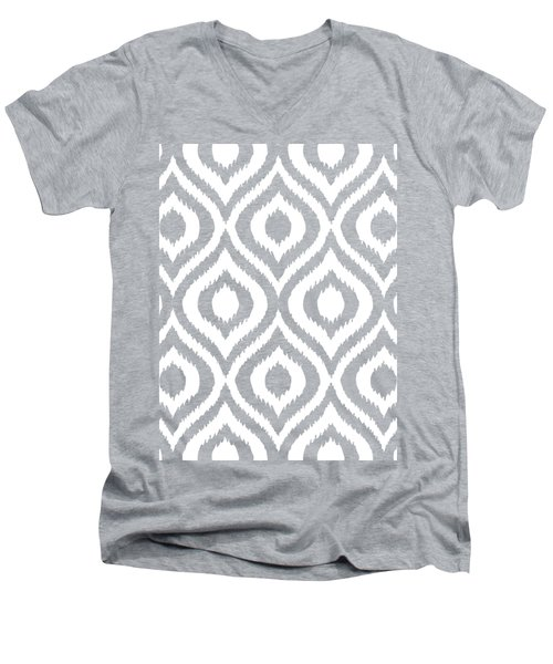 Circle And Oval Ikat In White T03-p0100 Men's V-Neck T-Shirt