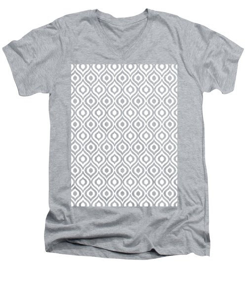 Circle And Oval Ikat In White T09-p0100 Men's V-Neck T-Shirt