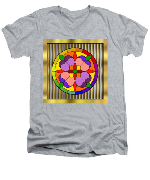 Circle On Bars Men's V-Neck T-Shirt