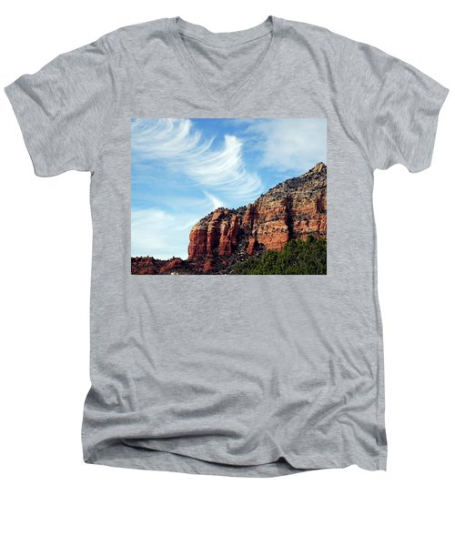 Men's V-Neck T-Shirt featuring the photograph Cirrus Clouds Over The Mesa by Lynda Lehmann