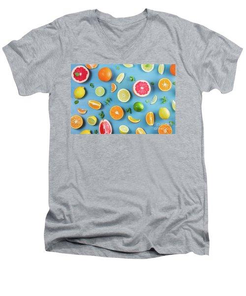 Citrus Summer Men's V-Neck T-Shirt by Anastasy Yarmolovich