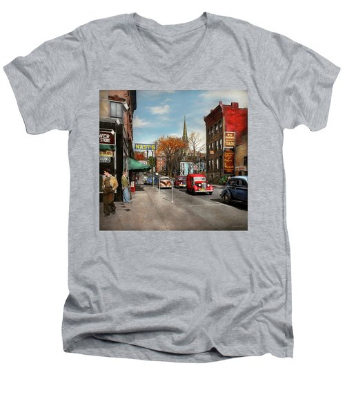 Men's V-Neck T-Shirt featuring the photograph City - Amsterdam Ny - Downtown Amsterdam 1941 by Mike Savad
