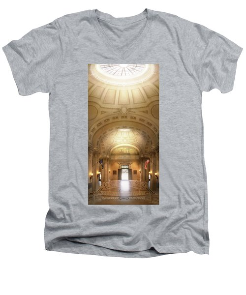 Men's V-Neck T-Shirt featuring the photograph City - Annapolis Md - Bancroft Hall by Mike Savad