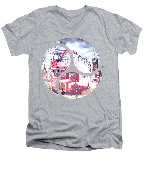 City-art London Red Buses On Westminster Bridge Men's V-Neck T-Shirt by Melanie Viola