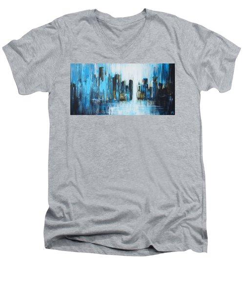 City Blues Men's V-Neck T-Shirt by Theresa Marie Johnson