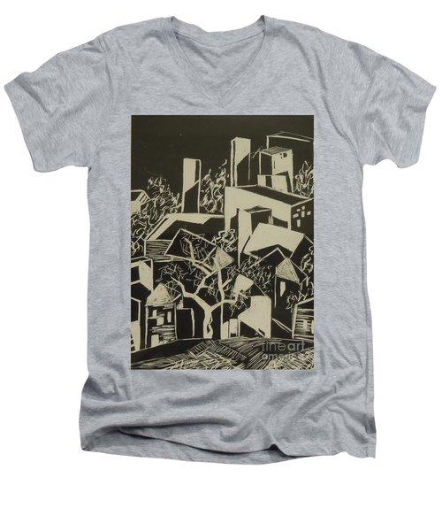 City By Moonlight - Sold Men's V-Neck T-Shirt by Judith Espinoza