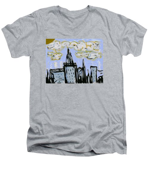 City In Blue Men's V-Neck T-Shirt by Dan Twyman