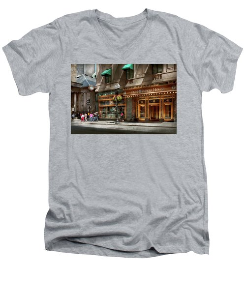 Men's V-Neck T-Shirt featuring the photograph City - Ma Boston - Meet Me At The Omni Parker Clock by Mike Savad