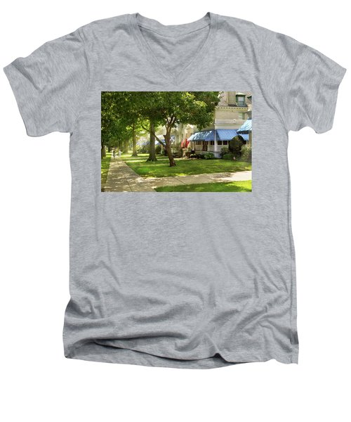 Men's V-Neck T-Shirt featuring the photograph City - Naval Academy - A Walk Down Captains Row by Mike Savad
