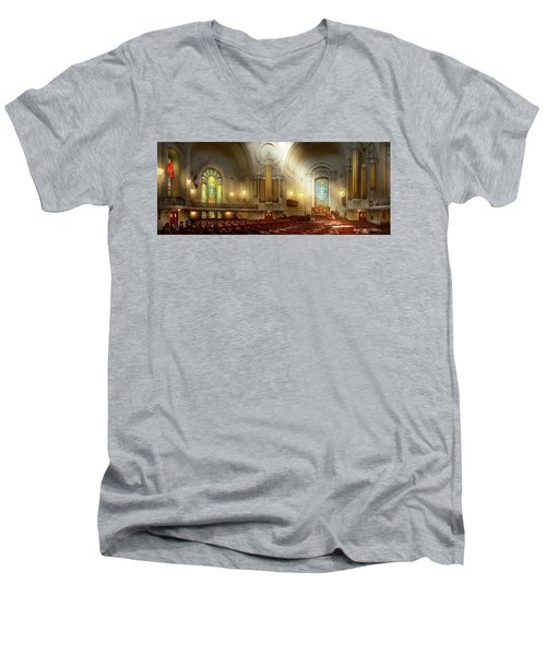 Men's V-Neck T-Shirt featuring the photograph City - Naval Academy - The Chapel by Mike Savad