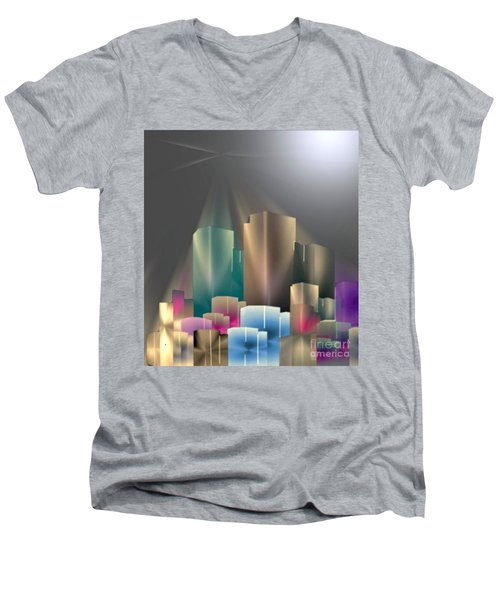 City Of Light 5-2 2016 Men's V-Neck T-Shirt by John Krakora
