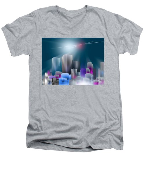 City Of Light Men's V-Neck T-Shirt by John Krakora