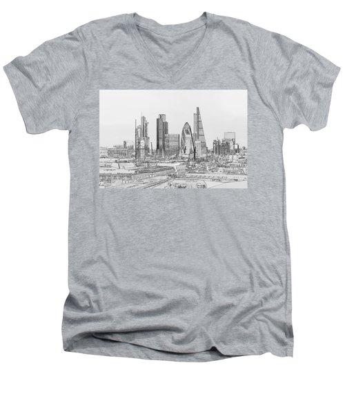 City Of London Outline Poster Bw Men's V-Neck T-Shirt