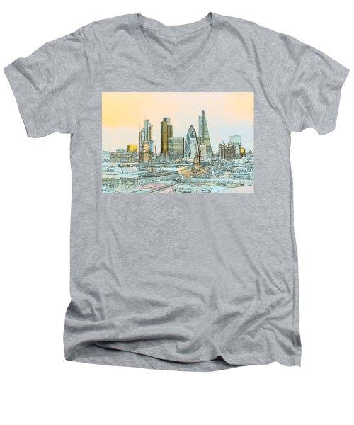 City Of London Outline Poster  Men's V-Neck T-Shirt