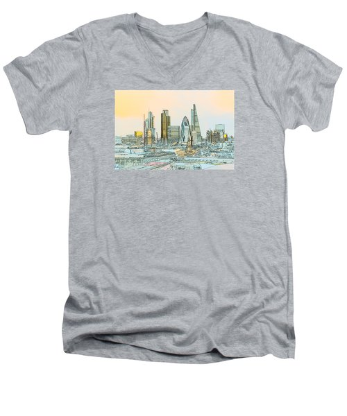 City Of London Outline Poster  Men's V-Neck T-Shirt