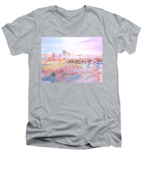 Men's V-Neck T-Shirt featuring the painting City Of Prague by Elizabeth Lock